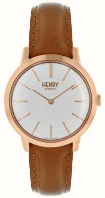 Henry London Montre femme emblématique cadran blanc cuir tan HL34-S-0212
