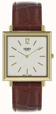 Henry London Heritage mens square watch cadran blanc bracelet en cuir marron HL34-QS-0268