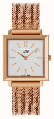 Henry London Heritage femme petite montre carrée or rose maille HL26-QM-0264