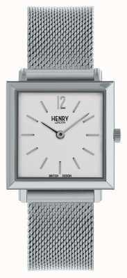 Henry London Petite montre carrée Heritage | bracelet en maille d'argent | HL26-QM-0265