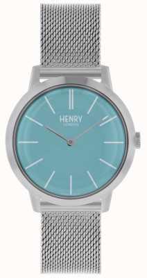 Henry London Montre femme emblématique bracelet en maille argentée cadran bleu HL34-M-0273