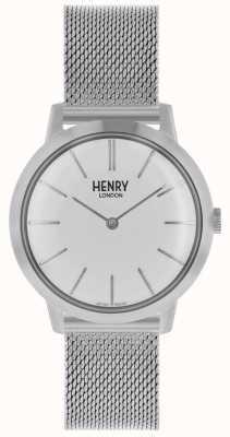 Henry London Montre femme emblématique bracelet en maille argentée cadran blanc HL34-M-0231