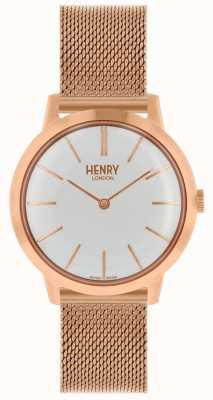 Henry London Montre femme emblématique bracelet en or rose cadran blanc HL34-M-0230
