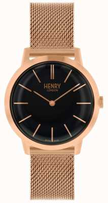 Henry London Montre-bracelet à cadran noir iconique HL34-M-0234