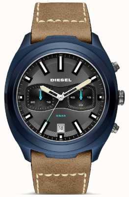 Diesel Montre homme boitier bleu bracelet en cuir marron DZ4490