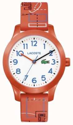 Lacoste 12.12 enfants cadran orange bracelet blanc 2030010