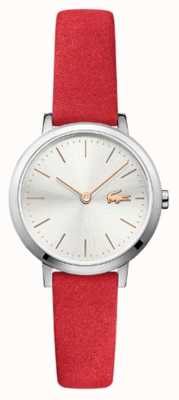 Lacoste Cadran argenté petit bracelet en cuir rouge 2001048
