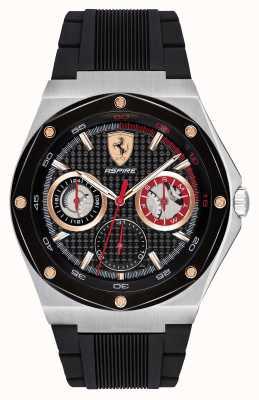 Scuderia Ferrari Les hommes aspirent un bracelet en caoutchouc noir avec des accents dorés 0830556