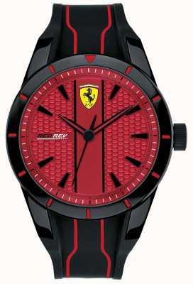 Scuderia Ferrari Mens redrev cadran rouge bracelet en caoutchouc noir 0830540