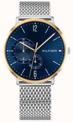 Tommy Hilfiger Boîtier en acier inoxydable plaqué or cadran bleu pour homme milanese 1791505