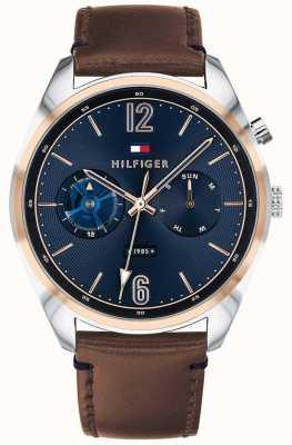 Tommy Hilfiger Cadran bleu multifonction en cuir marron 1791549