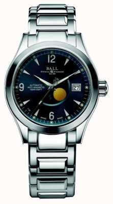 Ball Watch Company Affichage de la date du cadran bleu automatique de la phase de lune de l'Ohio NM2082C-SJ-BE