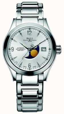 Ball Watch Company Affichage de la date du cadran argenté automatique de phase de lune de l'Ohio NM2082C-SJ-SL