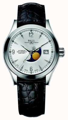 Ball Watch Company Bracelet en cuir avec affichage automatique de la date de la lune en argent de l'Ohio NM2082C-LJ-SL