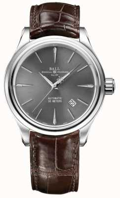 Ball Watch Company Bracelet Trainmaster légende gris sunray bracelet en cuir marron NM3080D-LJ-GY