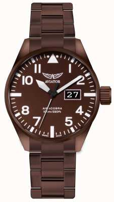 Aviator Montre homme en acier recouvert de bronze V.1.22.8.151.5