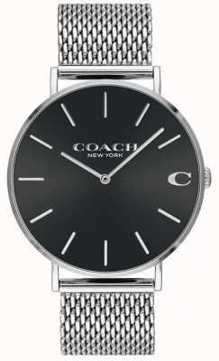 Coach Bracelet homme charles en maille argentée cadran noir 14602144