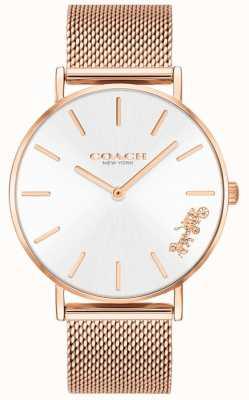Coach Montre-bracelet pour femme en maille perle d'or rose 14503126