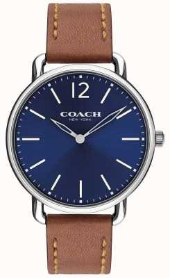 Coach Montre fine pour homme, cadran bleu, bracelet en cuir marron 14602345