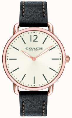 Coach Mens delancey slim montre cadran blanc bracelet en cuir noir 14602347