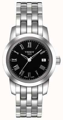 Tissot Cadran noir classique en acier inoxydable pour femme T0332101105300