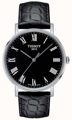 Tissot Cadran noir avec bracelet en cuir noir à chaque fois pour homme T1094101605300