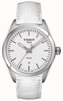 Tissot Cadran en cuir blanc pr100 pour femme T1012101603100
