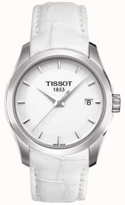 Tissot Cadran blanc femme en cuir blanc T0352101601100