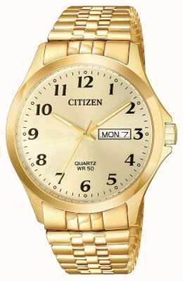 Citizen Bracelet à expansion pour homme avec quartz plaqué or date du jour BF5002-99P