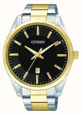 Citizen Date de cadran noir à quartz bicolore pour homme BI1034-52E