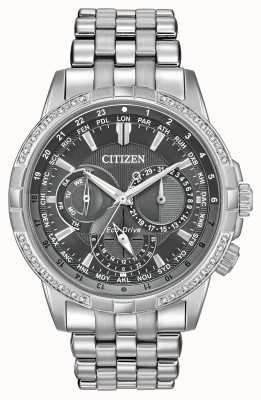 Citizen Eco-drive calendrier acier inoxydable 32 diamants cadran gris BU2080-51H