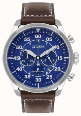 Citizen Mens avion eco-drive cadran bleu bracelet en cuir marron wr100 CA4210-41L