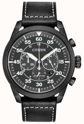 Citizen Chronographe homme en cuir noir cadran noir CA4215-21H