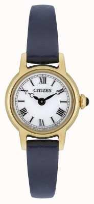 Citizen Bracelet en cuir bleu eco-drive pour femme Cadran blanc plaqué or EG2995-01A