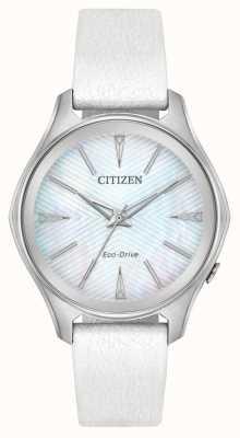 Citizen Bracelet en cuir blanc pour femme EM0590-03D