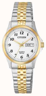 Citizen Bracelet d'expansion à cadran argenté bicolore EQ2004-95A