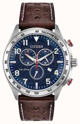 Citizen Cadran bleu homme eco-drive en cuir marron chrono 100m AT2418-00L