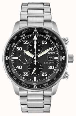 Citizen Aviateur pour hommes eco-drive cadran noir en acier inoxydable chrono 100m CA0690-53E