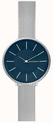 Skagen Cadran bleu maille en acier inoxydable pour femme Karolina SKW2725