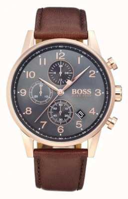Boss Navigator chronographe affichage de la date cadran noir cuir marron 1513496