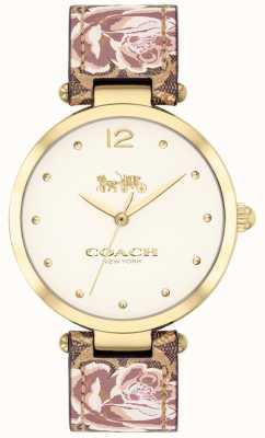 Coach Womens park watch bracelet en cuir floral doré 14503178