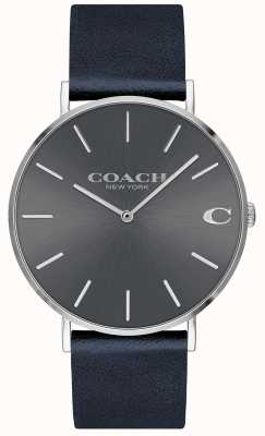 Coach Montre charles bleu marine à cadran gris pour homme 14602150