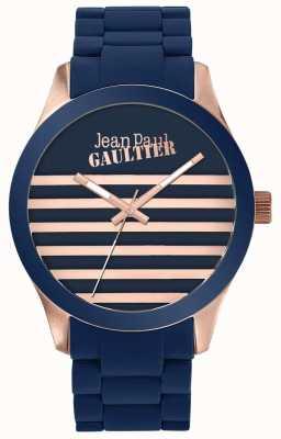 Jean Paul Gaultier Montre en caoutchouc unisexe bleu et rose en or pour enfants terribles JP8501127