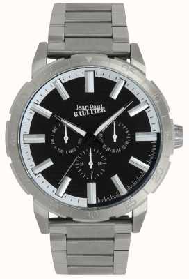 Jean Paul Gaultier Bomber homme en acier inoxydable bracelet montre cadran noir JP8505404