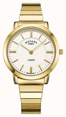 Rotary Montre bracelet extensible en acier inoxydable London Gold pour femme LB00766/03