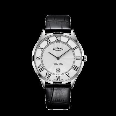 Rotary Montre pour homme en acier avec bracelet en cuir noir ultra fin GS08400/29