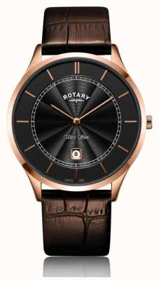 Rotary Bracelet cuir ultra-fin pour homme, or rose GS08404/04