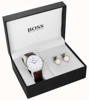Hugo Boss Ensemble cadeau de bouton de manchette pour cadran blanc en cuir brun 1570069