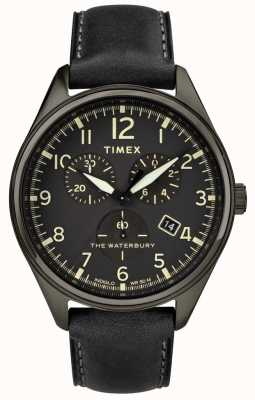 Timex Homme waterbury traditionnel noir chrono en cuir noir TW2R88400