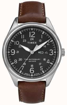 Timex Mens waterbury traditionnelle date du jour noir marron TW2R89000
